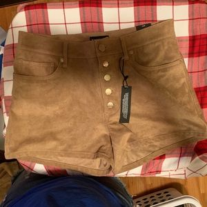 Express high rise button fly shorts.